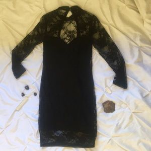Black 3/4 Length Sleeved Lace Dress